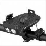 4 In 1 Bicycle Light LED USB Rechargeable Headlight Phone Holder Horn 2400Mah Power Bank