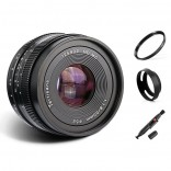 7artisans 50mm F1.8 manual focus lens Sony systeem camera + Gratis lenspen + 52mm uv filter en zonnekap