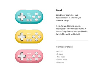 8Bitdo Zero 2 Mini Draadloze Bluetooth Game Controller Switch Windows Android