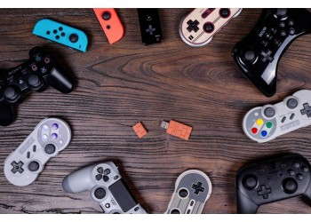 8Bitdo USB Draadloze Bluetooth Adapter Switch PS4 Xbox + JoyCon caps + kaarthouder