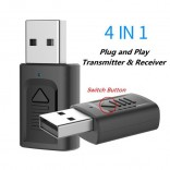 Bluetooth 5.0 Audio-ontvanger Zender 4 IN 1 Mini 3.5mm Jack AUX USB Adapter