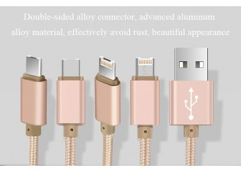 4 in 1 iPhone Android Luxe Snelle Opladen Data Sync kabel