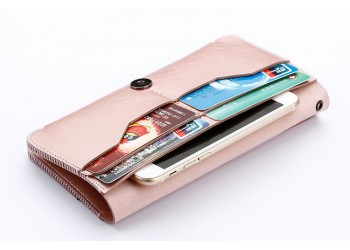 iphone x 8 7 Samsung Luxe leather wallet Hoesje rosegoud