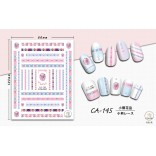 3D Nagel Sticker Coole stickers voor nagel folie Fashion Manicure Stickers Nagels CA-145 beertje bloemenrand