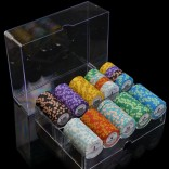 100 Piece Professional Upscale Clay Casino Texas Poker Chips 14G value 1 to 1000 with Chip stand and Dice
