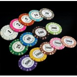 5 Piece Professional Upscale Clay Casino Texas Poker Chips 14G value 50 100 200 500 1000