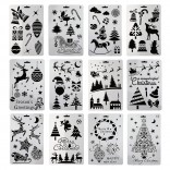 12 in 1 Christmas series Card DIY Album Masking Spray Painted Template Drawing Stencils Painting Scrapbooking Card