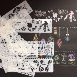 12 in 1 Kaart DIY Album Masking Spray Geschilderd Template Tekening Stencils Schilderen Scrapbooking Card Lace ruler