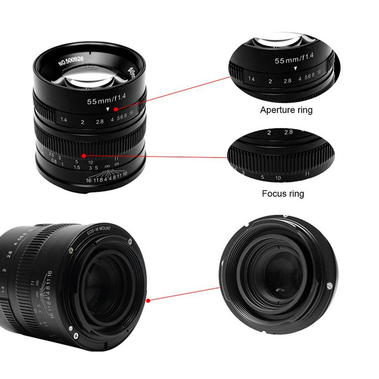 7artisans 55mm F1.4 manual focus lens Canon systeem camera