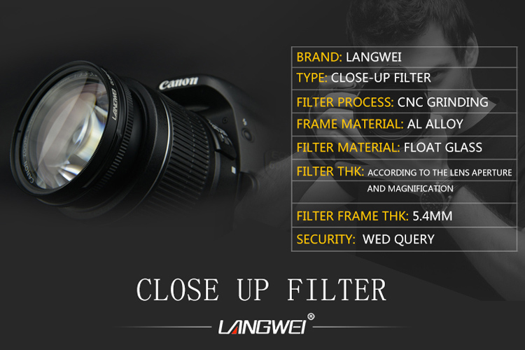 40.5mm Close up Filter Macro +8 Langwei camera lens filter