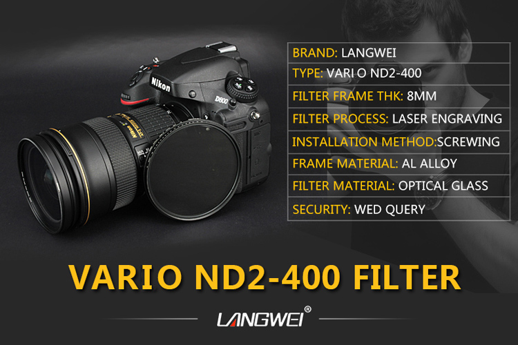 67mm ND Filter (grijsfilter) vario ND2-400 Langwei Lens