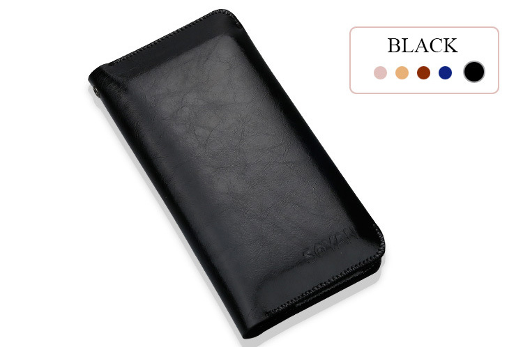 iphone x 8 7 Samsung Huawei Luxe leather wallet Hoesje zwart