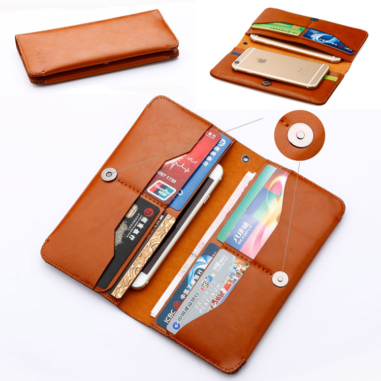 iphone x 8 7 Samsung Huawei Luxe leather wallet Hoesje brown
