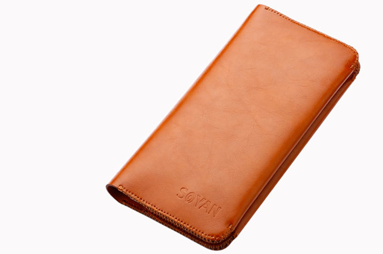 iphone x 8 7 Samsung Huawei Luxe leather wallet Hoesje bruin