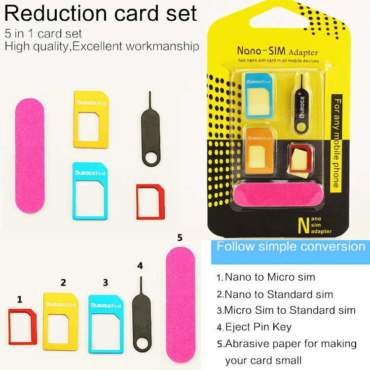 5 in 1 Nano Sim Card Adapters + Regular & Micro Sim iPhone